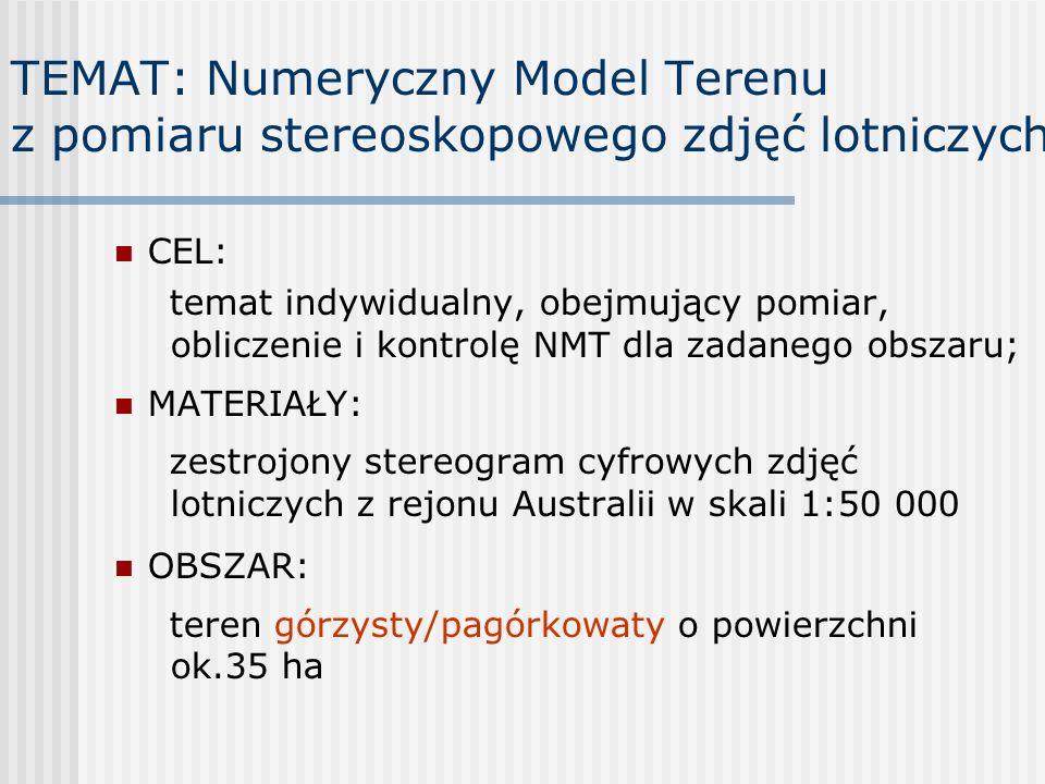 TEMAT: Numeryczny Model Terenu z pomiaru stereoskopowego zdjęć lotniczych