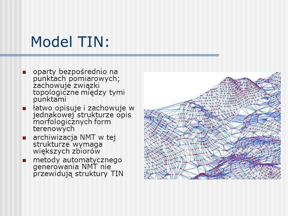 Model TIN: oparty bezpośrednio na punktach pomiarowych; zachowuje związki topologiczne między tymi punktami.