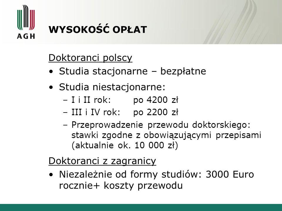Studia stacjonarne – bezpłatne Studia niestacjonarne: