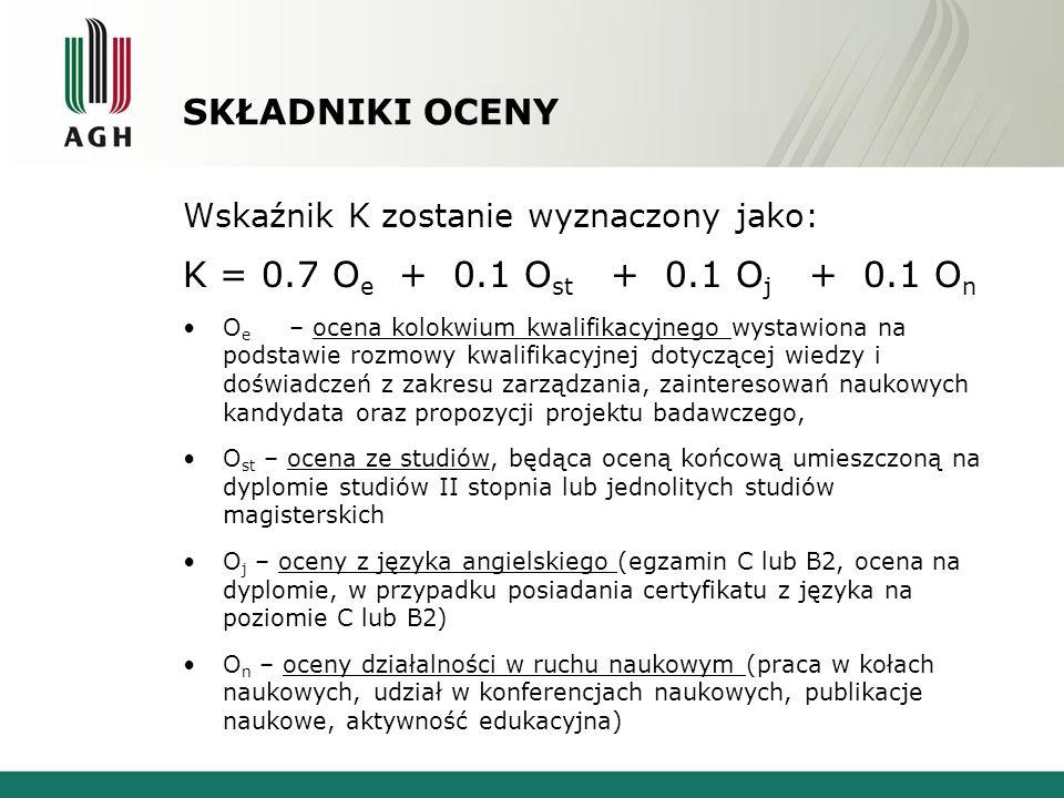 SKŁADNIKI OCENY K = 0.7 Oe + 0.1 Ost + 0.1 Oj + 0.1 On