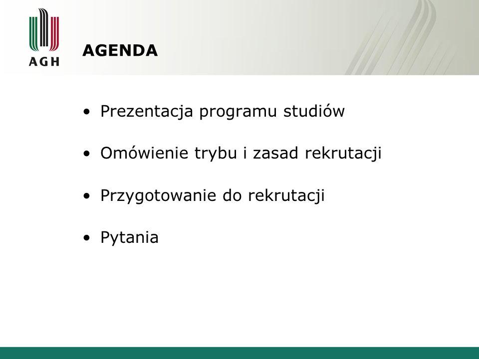 AGENDA Prezentacja programu studiów. Omówienie trybu i zasad rekrutacji. Przygotowanie do rekrutacji.