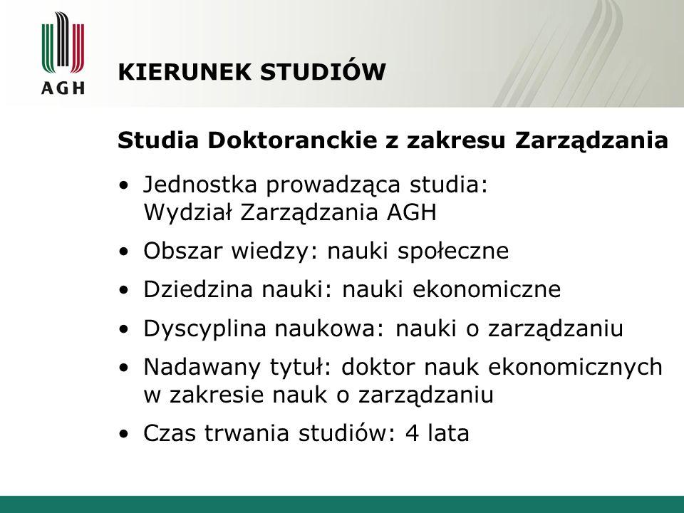 KIERUNEK STUDIÓW Studia Doktoranckie z zakresu Zarządzania. Jednostka prowadząca studia: Wydział Zarządzania AGH.