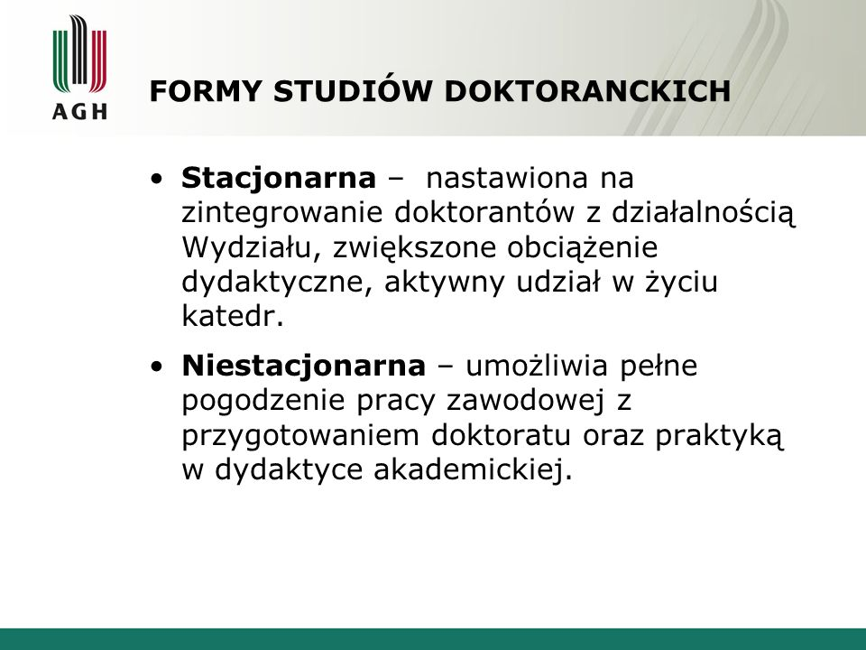 FORMY STUDIÓW DOKTORANCKICH