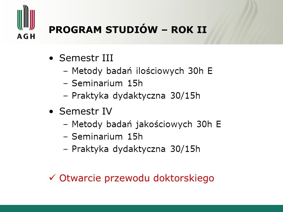 PROGRAM STUDIÓW – ROK II