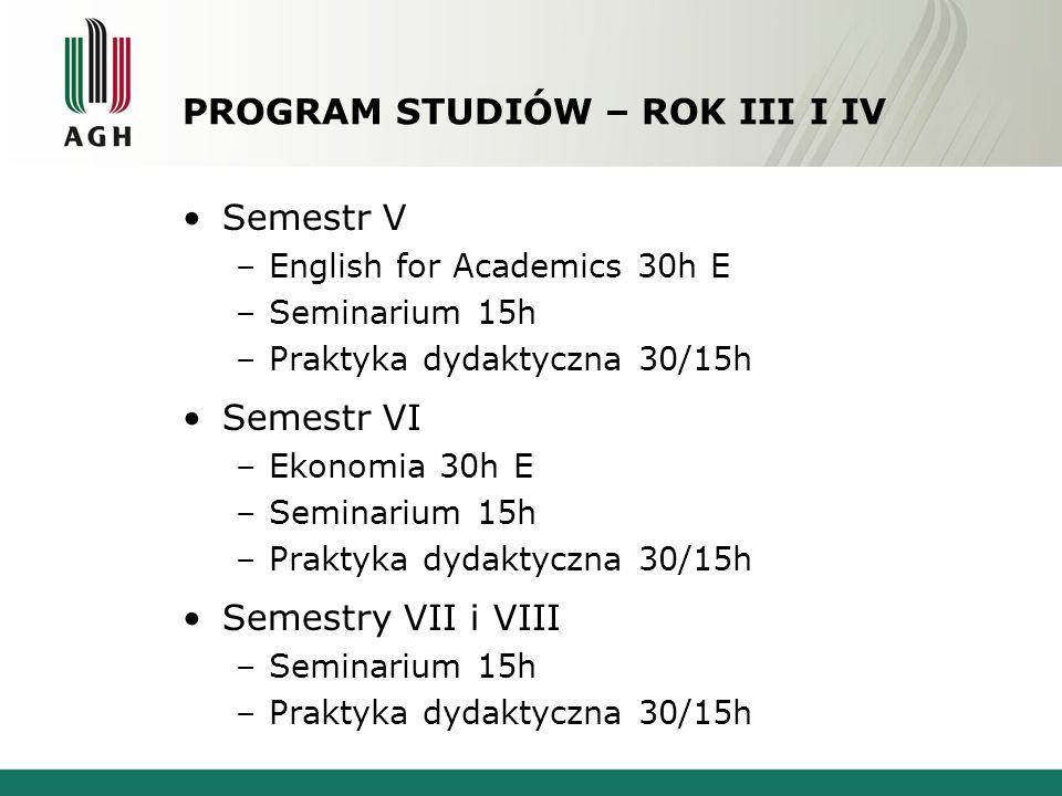 PROGRAM STUDIÓW – ROK III I IV