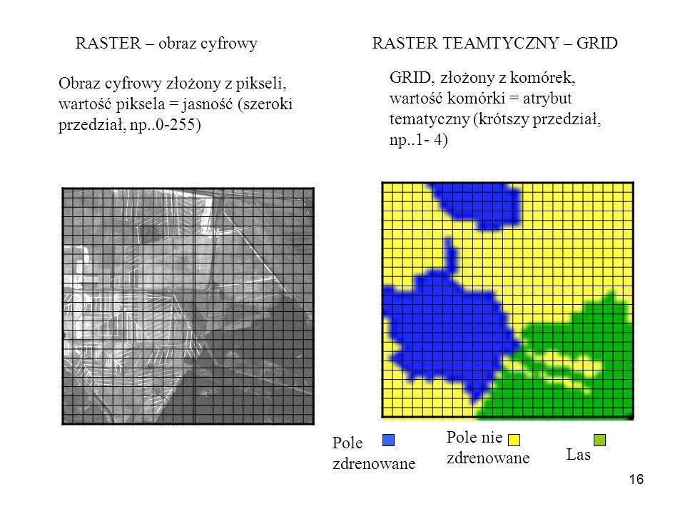 RASTER – obraz cyfrowy RASTER TEAMTYCZNY – GRID. GRID, złożony z komórek, wartość komórki = atrybut tematyczny (krótszy przedział, np..1- 4)