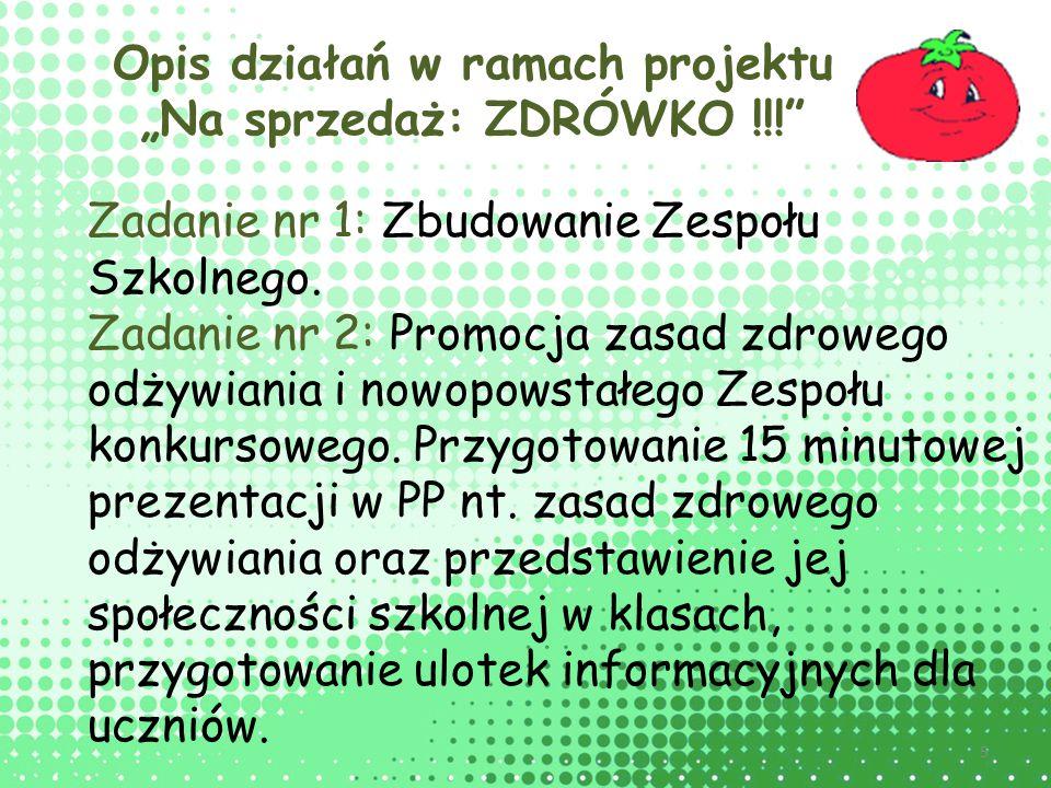 """Opis działań w ramach projektu """"Na sprzedaż: ZDRÓWKO !!!"""