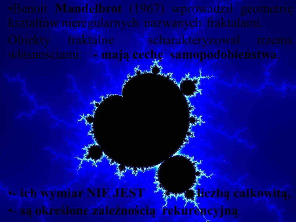 Benoit Mandelbrot (1967) wprowadził geometrię kształtów nieregularnych nazwanych fraktalami.