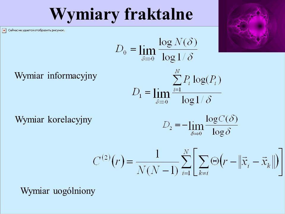 Wymiary fraktalne Wymiar informacyjny Wymiar korelacyjny