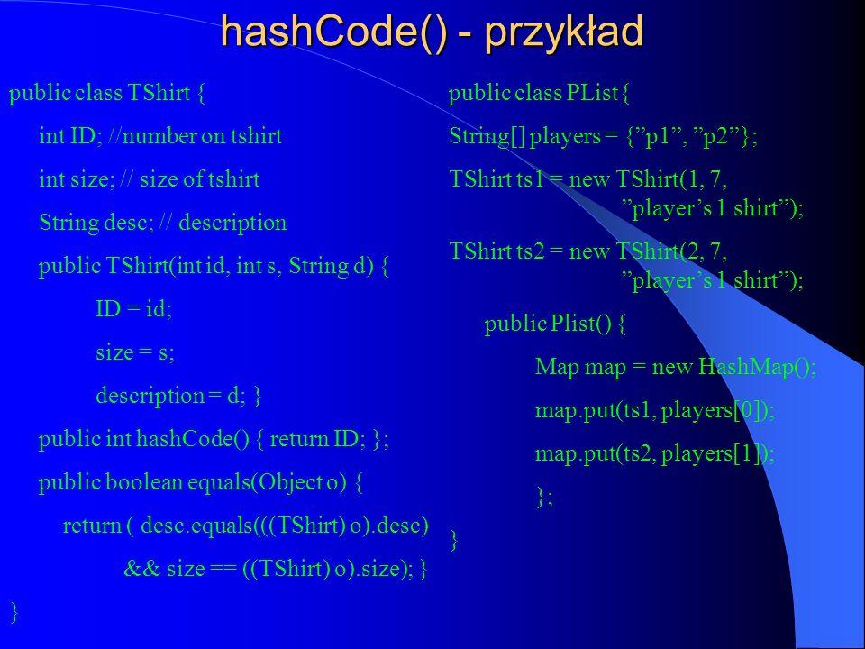 hashCode() - przykład public class TShirt { int ID; //number on tshirt