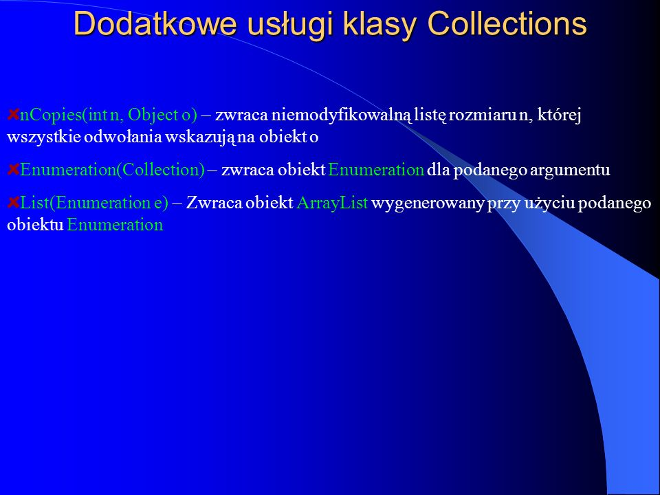 Dodatkowe usługi klasy Collections