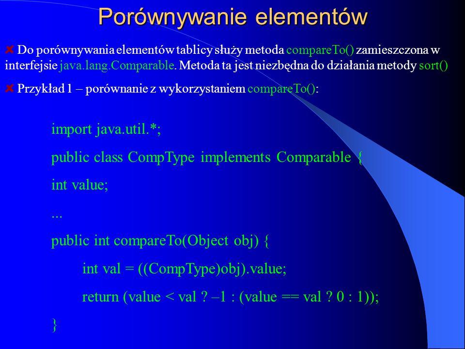 Porównywanie elementów