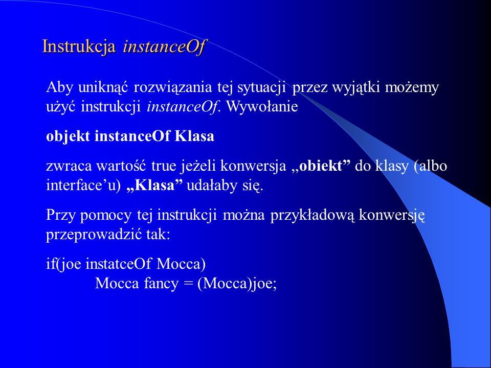 Instrukcja instanceOf