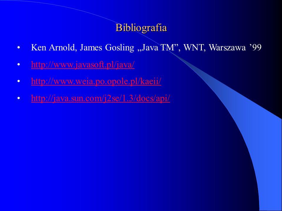 """Bibliografia Ken Arnold, James Gosling """"Java TM , WNT, Warszawa '99"""