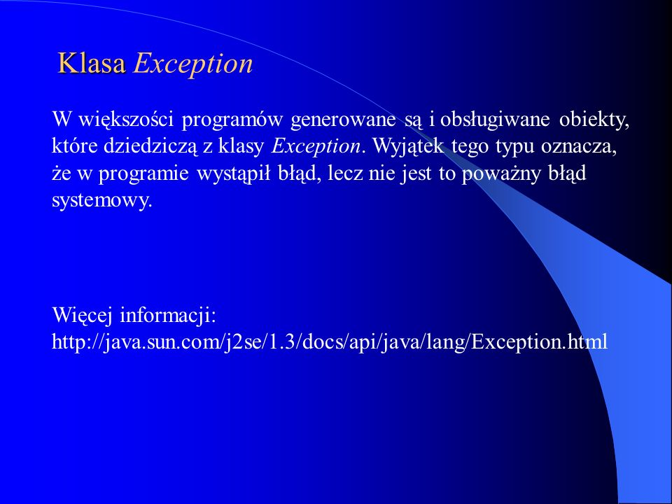 Klasa Exception
