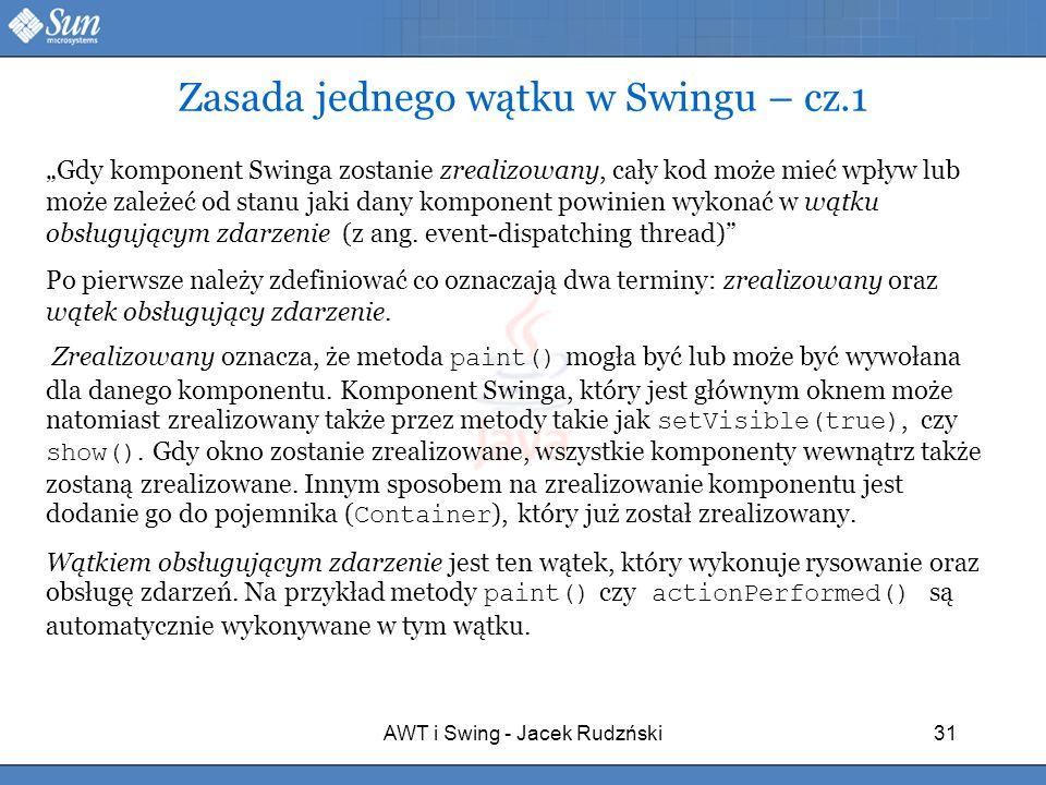 Zasada jednego wątku w Swingu – cz.1