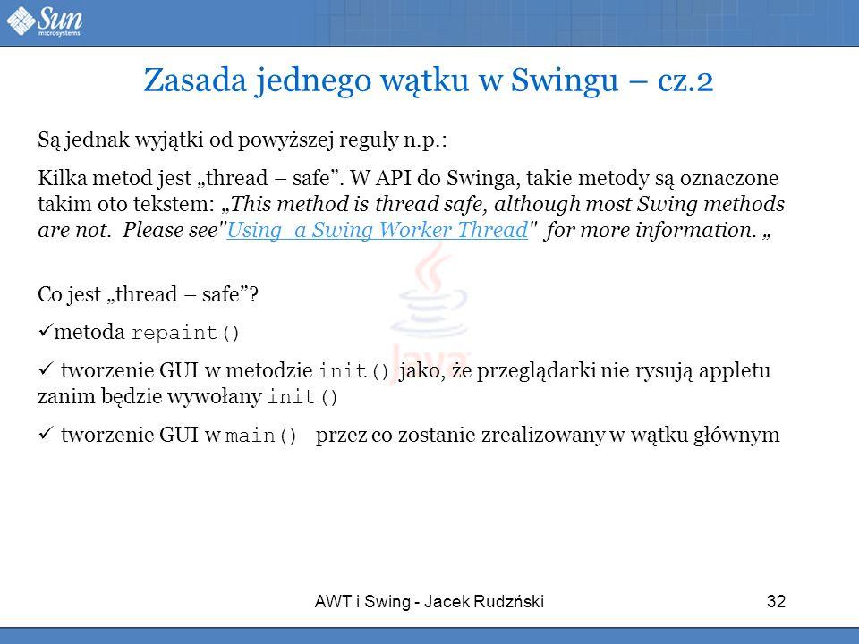 Zasada jednego wątku w Swingu – cz.2