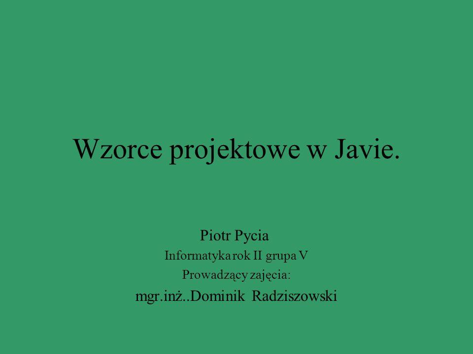 Wzorce projektowe w Javie.