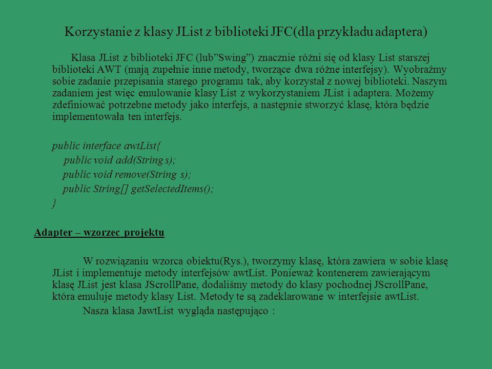 Korzystanie z klasy JList z biblioteki JFC(dla przykładu adaptera)