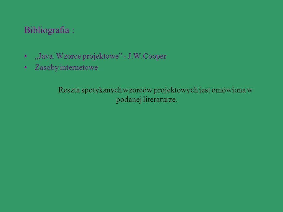 "Bibliografia : ""Java. Wzorce projektowe - J.W.Cooper"