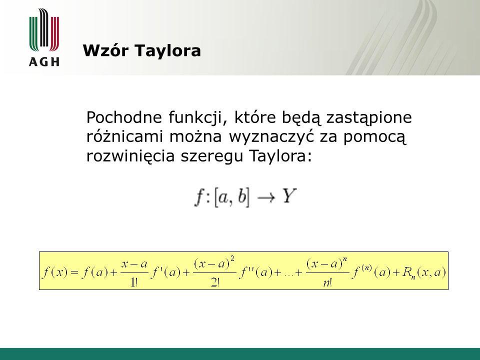 Wzór Taylora Pochodne funkcji, które będą zastąpione różnicami można wyznaczyć za pomocą rozwinięcia szeregu Taylora: