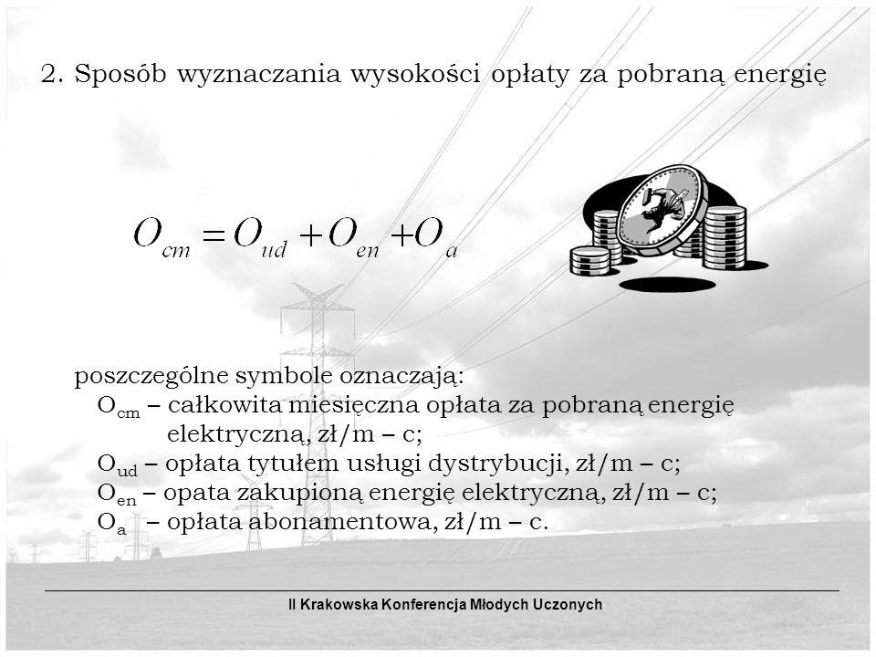 2. Sposób wyznaczania wysokości opłaty za pobraną energię