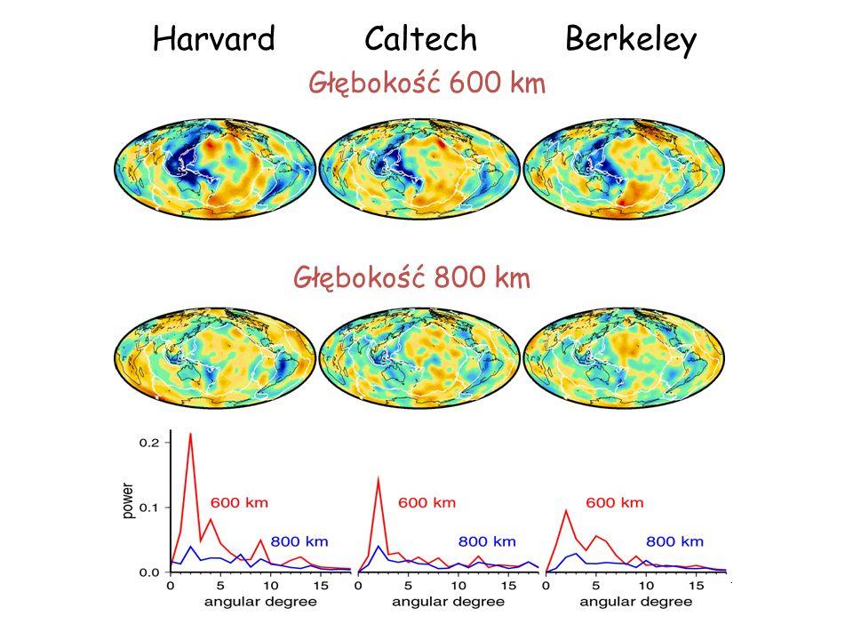 Harvard Caltech Berkeley Głębokość 600 km Głębokość 800 km