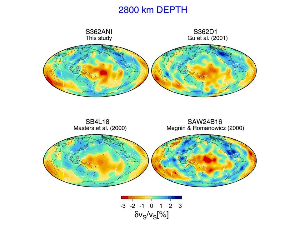 Porównanie czterech różnych modeli na głębokości 2800 km (90 km powyżej granicy jądro-płaszcz).