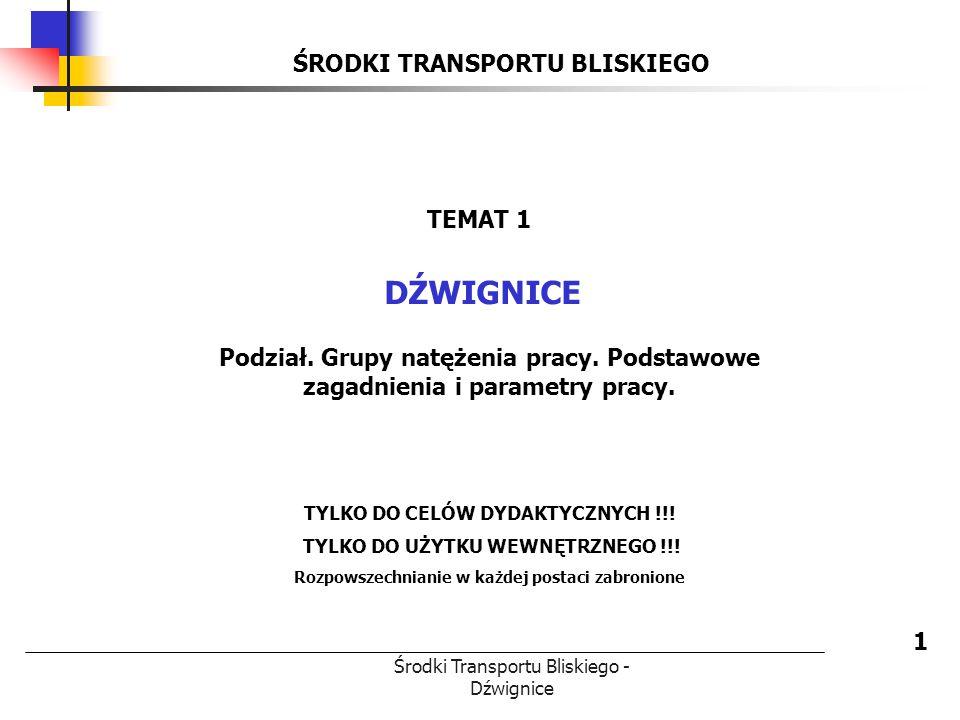 DŹWIGNICE ŚRODKI TRANSPORTU BLISKIEGO TEMAT 1
