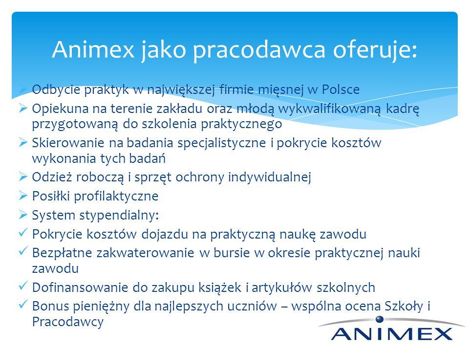 Animex jako pracodawca oferuje: