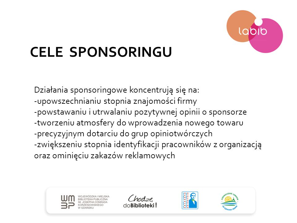 CELE SPONSORINGU Działania sponsoringowe koncentrują się na: