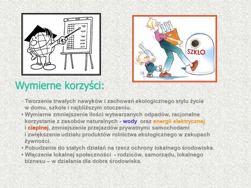 Wymierne korzyści: • Tworzenie trwałych nawyków i zachowań ekologicznego stylu życia w domu, szkole i najbliższym otoczeniu.