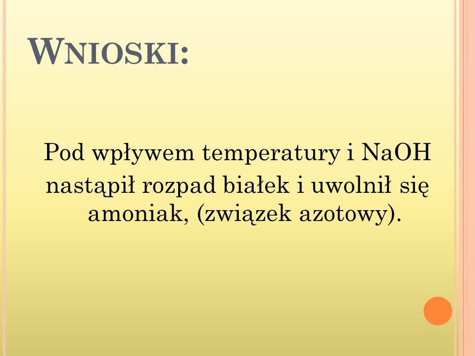 Wnioski: Pod wpływem temperatury i NaOH nastąpił rozpad białek i uwolnił się amoniak, (związek azotowy).