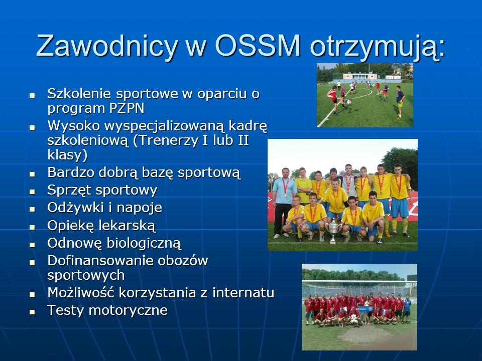 Zawodnicy w OSSM otrzymują: