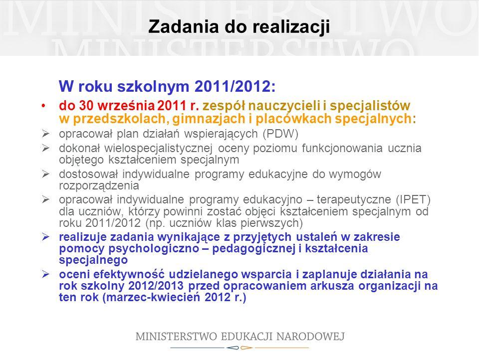 W roku szkolnym 2011/2012: Zadania do realizacji