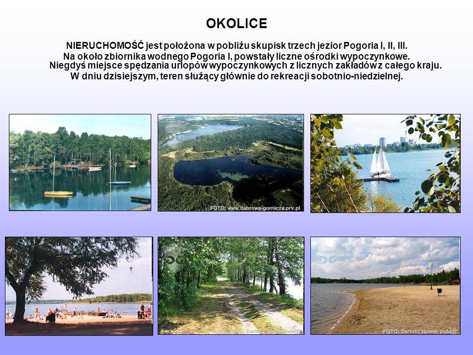 OKOLICE NIERUCHOMOŚĆ jest położona w pobliżu skupisk trzech jezior Pogoria I, II, III.