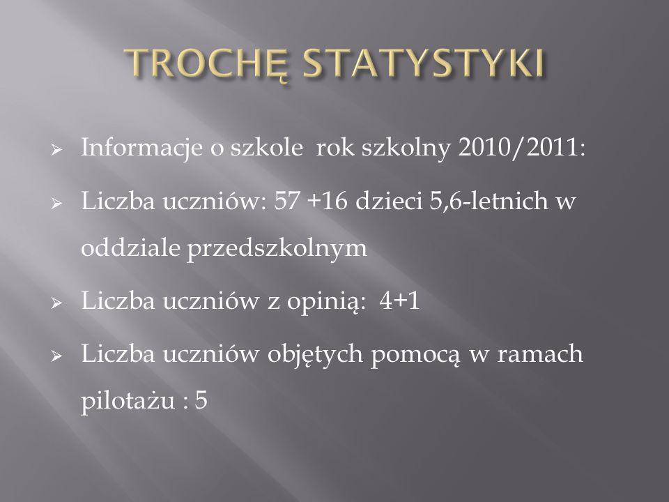 TROCHĘ STATYSTYKI Informacje o szkole rok szkolny 2010/2011:
