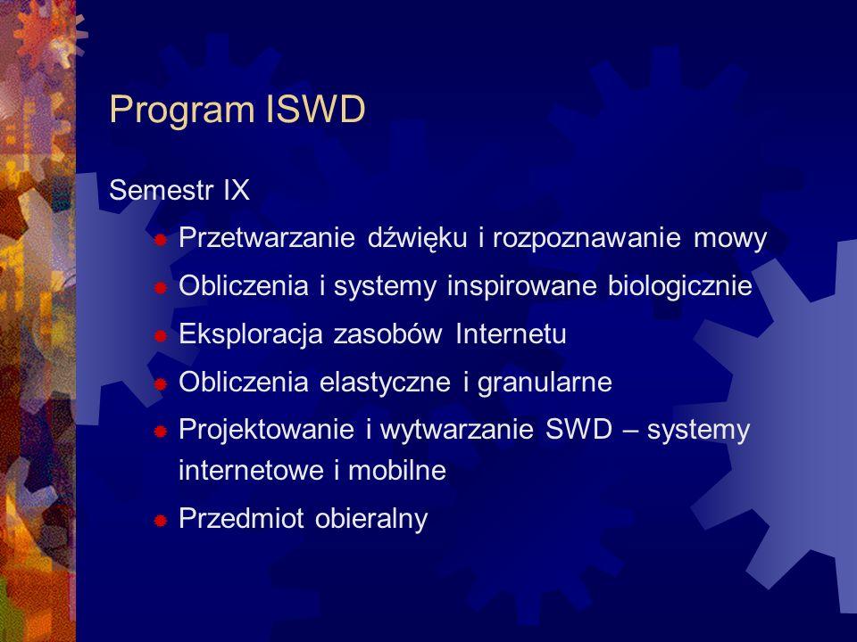 Program ISWD Semestr IX Przetwarzanie dźwięku i rozpoznawanie mowy