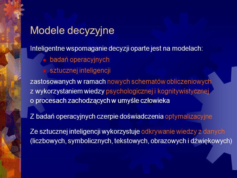 Modele decyzyjne Inteligentne wspomaganie decyzji oparte jest na modelach: badań operacyjnych. sztucznej inteligencji.