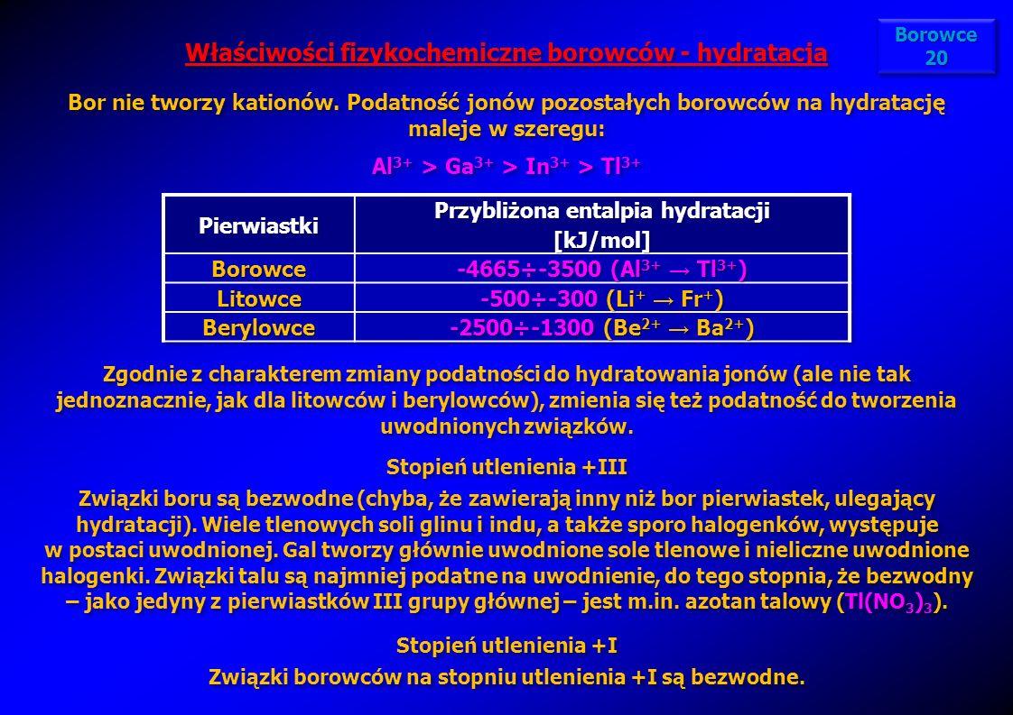 Właściwości fizykochemiczne borowców - hydratacja