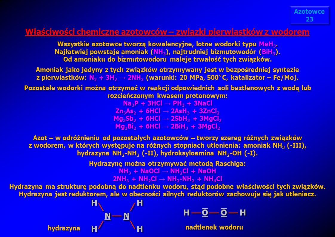 Właściwości chemiczne azotowców – związki pierwiastków z wodorem