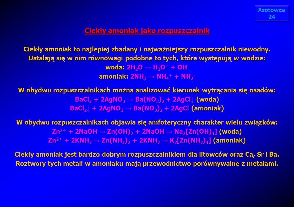 Ciekły amoniak jako rozpuszczalnik