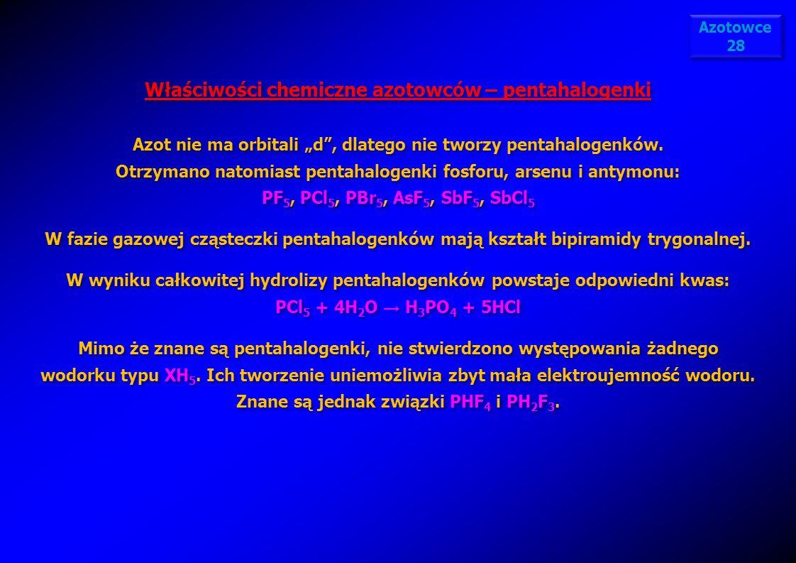 Właściwości chemiczne azotowców – pentahalogenki