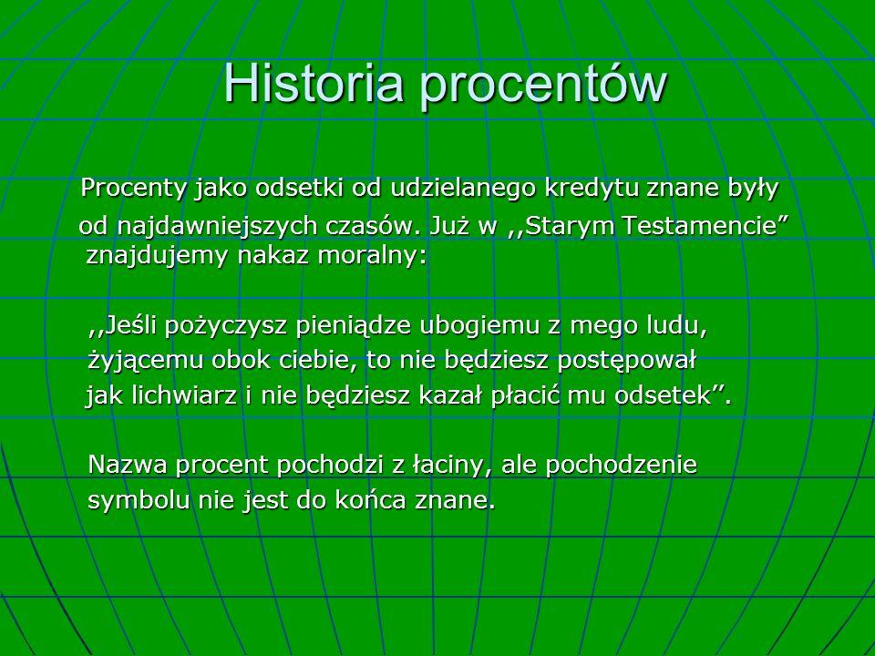 Historia procentów Procenty jako odsetki od udzielanego kredytu znane były.