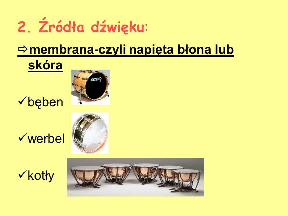 2. Źródła dźwięku: membrana-czyli napięta błona lub skóra bęben