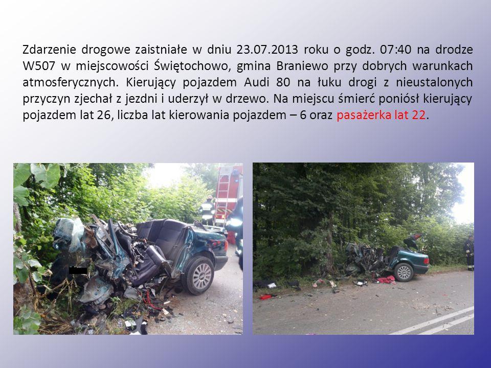 Zdarzenie drogowe zaistniałe w dniu 23. 07. 2013 roku o godz