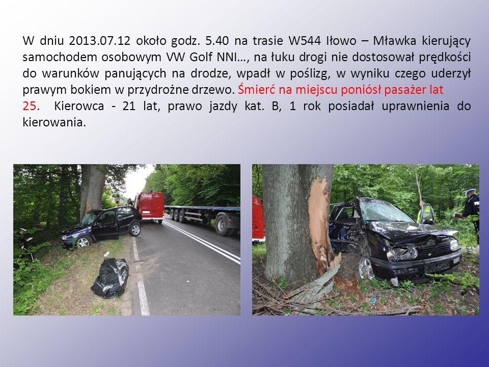 W dniu 2013.07.12 około godz. 5.40 na trasie W544 Iłowo – Mławka kierujący samochodem osobowym VW Golf NNI…, na łuku drogi nie dostosował prędkości do warunków panujących na drodze, wpadł w poślizg, w wyniku czego uderzył prawym bokiem w przydrożne drzewo. Śmierć na miejscu poniósł pasażer lat