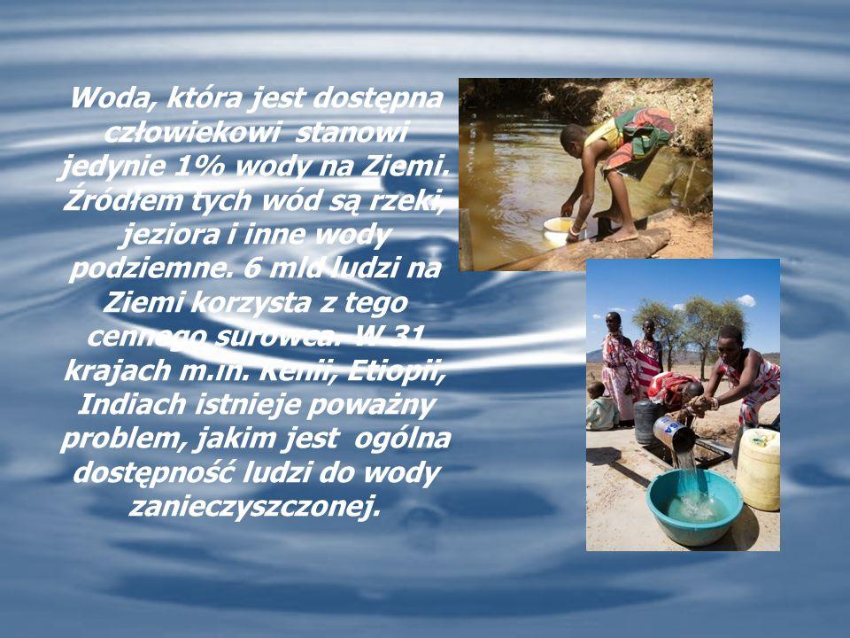 Woda, która jest dostępna człowiekowi stanowi jedynie 1% wody na Ziemi