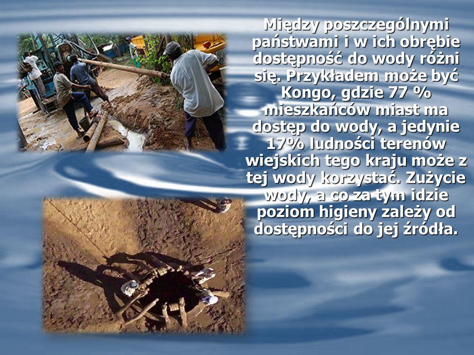Między poszczególnymi państwami i w ich obrębie dostępność do wody różni się.