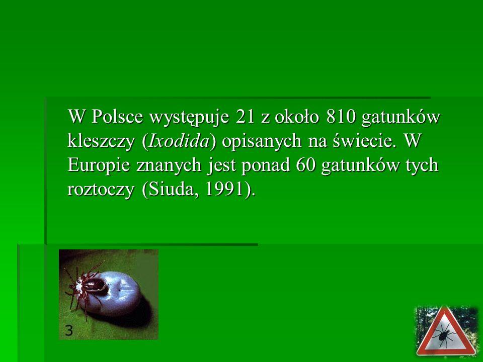 W Polsce występuje 21 z około 810 gatunków kleszczy (Ixodida) opisanych na świecie.